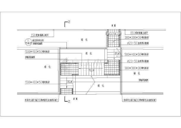 车库台阶施工设计cad详图(包括放线竖线平面图)-图二
