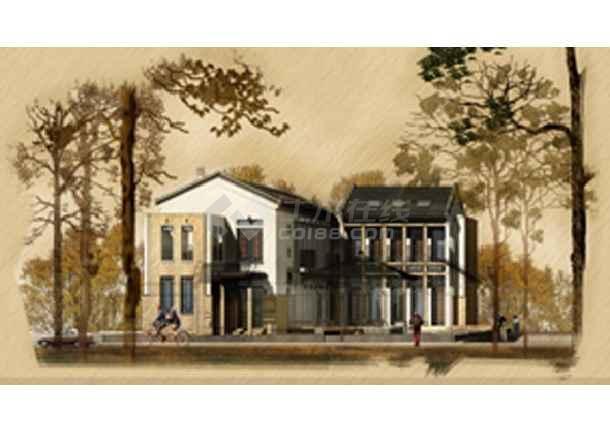 新中式主义建筑风格建筑设计实景照及总平(有效果图)-图一