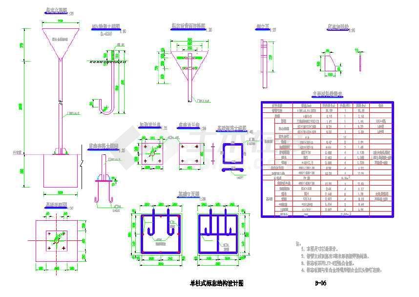 某国道改建工程单柱式标志结构设计图CAD-图一