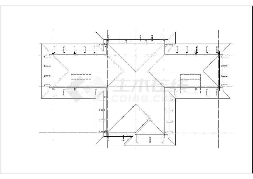 某小区三层框架别墅建筑设计施工图(徽式建筑)-图一