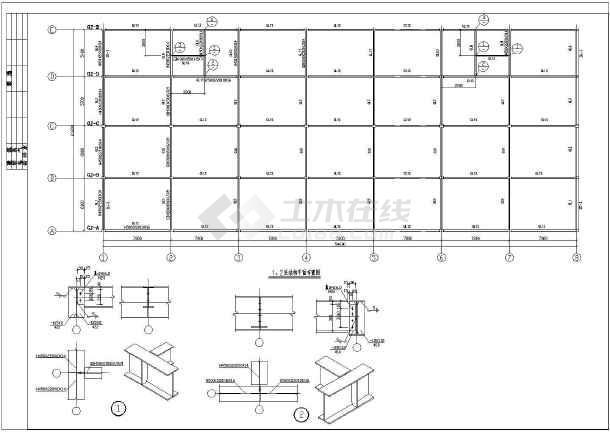 三层轻钢结构商业楼结构施工CAD图纸-图一