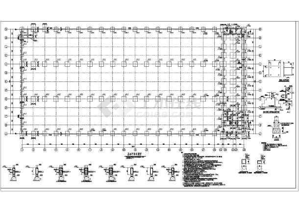 带吊车的门市钢架厂房CAD结构图-图一