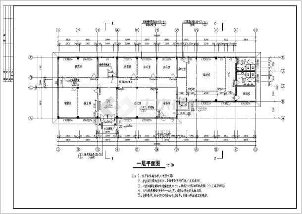 2层857.6平方米办公楼建筑CAD施工图-图二