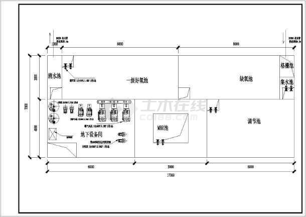 地下污水水池处理建筑CAD结构工程-图一