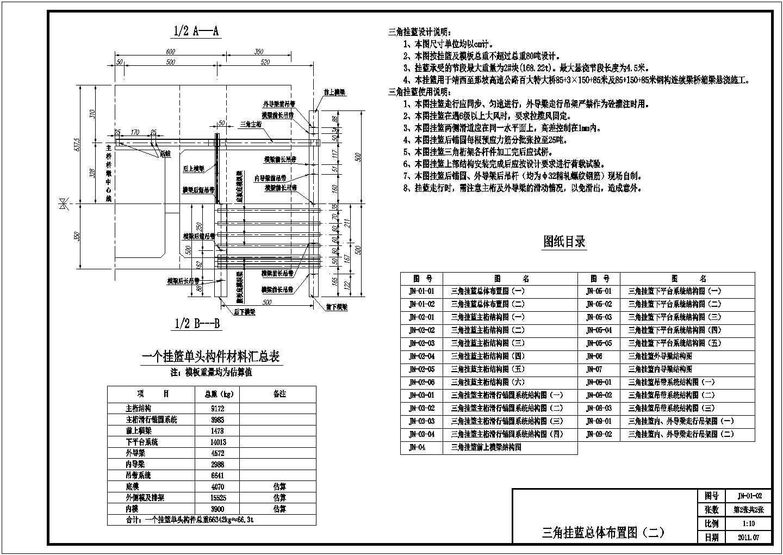 跨径150m连续刚构悬臂施工三角挂篮CAD设计图图片2