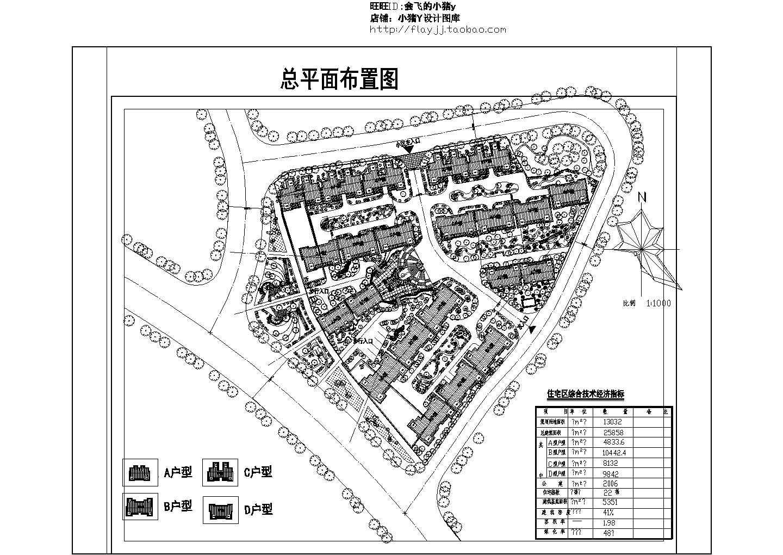 规划用地13032平米某小区规划设计总平面布置图图片1