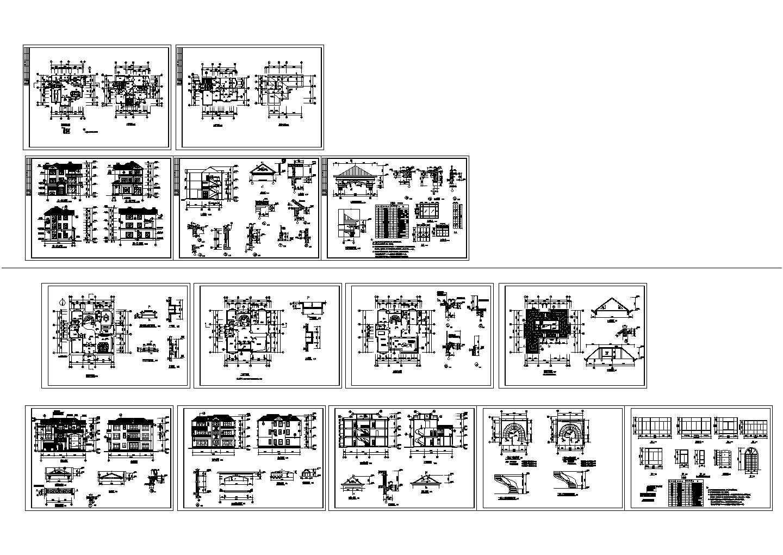 江西某三层别墅施工图两套建筑设计cad图纸,共14张图片1