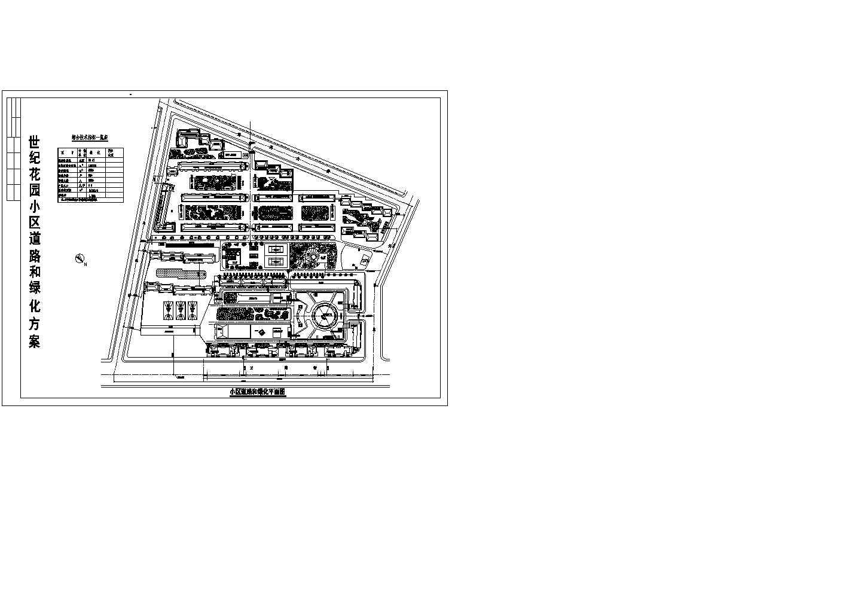 总建设用地10.41公顷居住户数984户世纪花园小区道路和绿化方案平面图 含综合技术指标一览表图片1