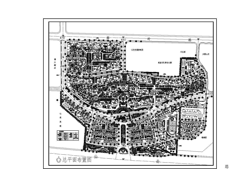 用地面积258830平方米小区规划总平面布置图 含经济技术指标图片1