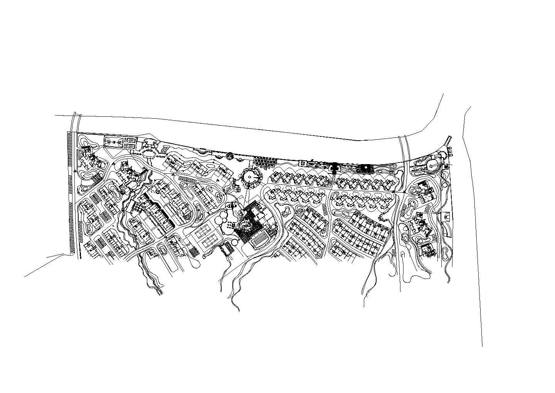 东湖花园二期河驳岸环境景观设计cad图,共三张图片1