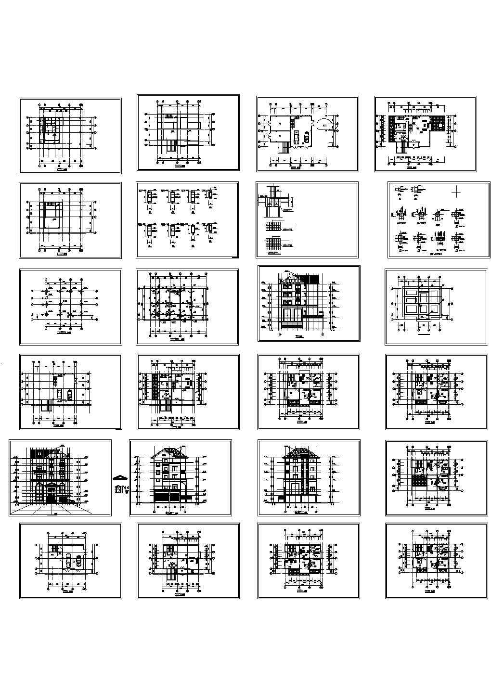 某错层三层别墅建筑结构施工设计cad图纸,共20张图片1