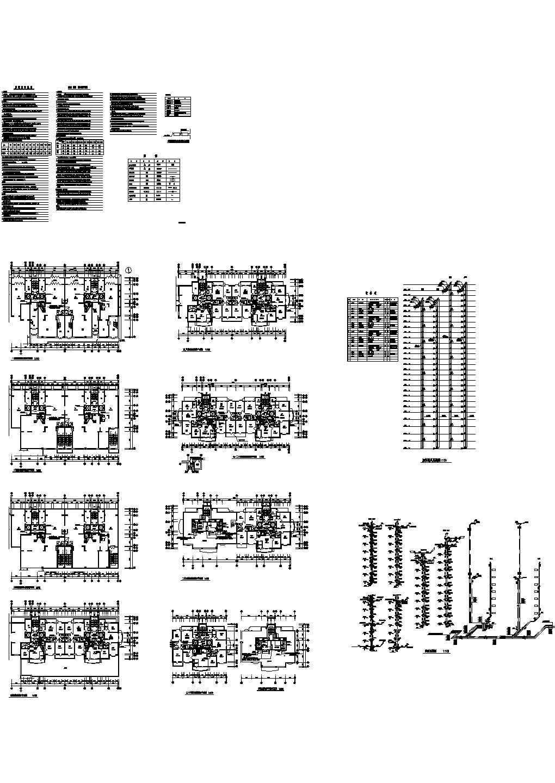 高层住宅楼采暖通风防烟cad平面施工图(含设计说明,设备表)图片1
