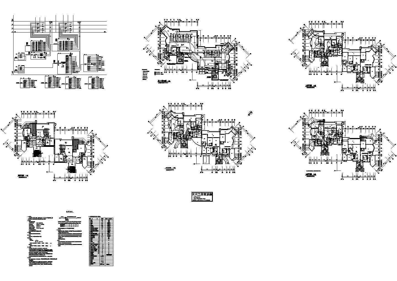 某3840�O四层高档住宅强电施工图纸(标注明细),共7张图片1