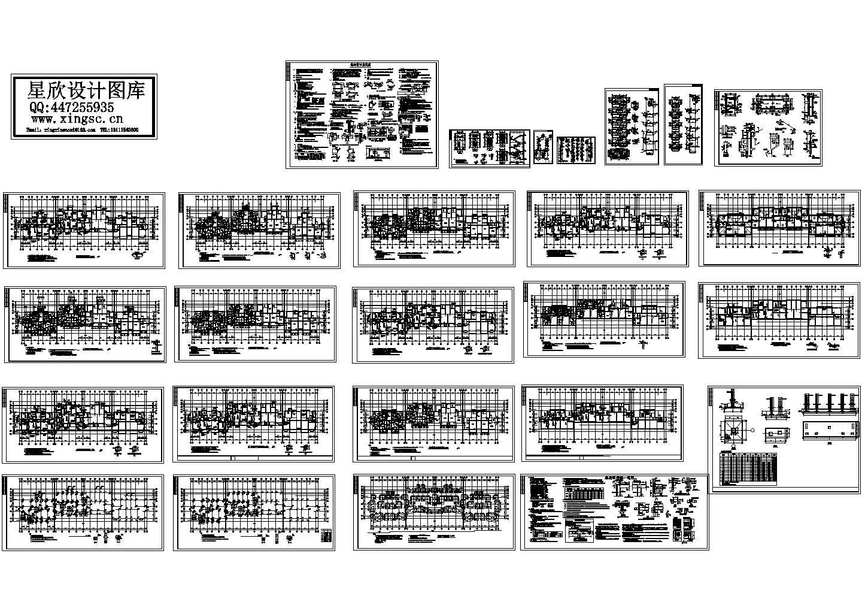 最新整理的六层框架结构住宅楼CAD施工图(含二层梁平面配筋图)图片1