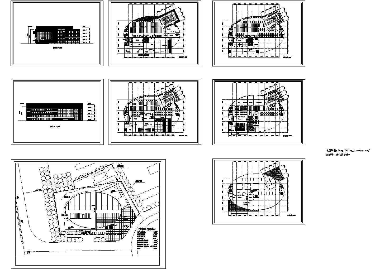 某长69米 宽约52米 五层学校图书馆建筑设计图含总平面图(无屋顶平面)图片1