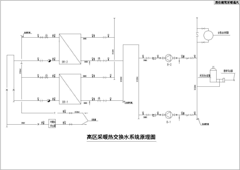 某地区居住建筑采暖通风高区给排水设计图图片1