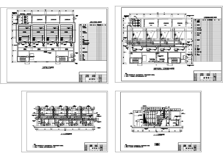 某曝气生物滤池设计cad施工图纸(大院设计)图片1