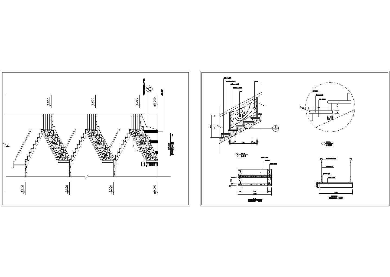 别墅楼梯剖面 踏步平面立面大样CAD图图片1