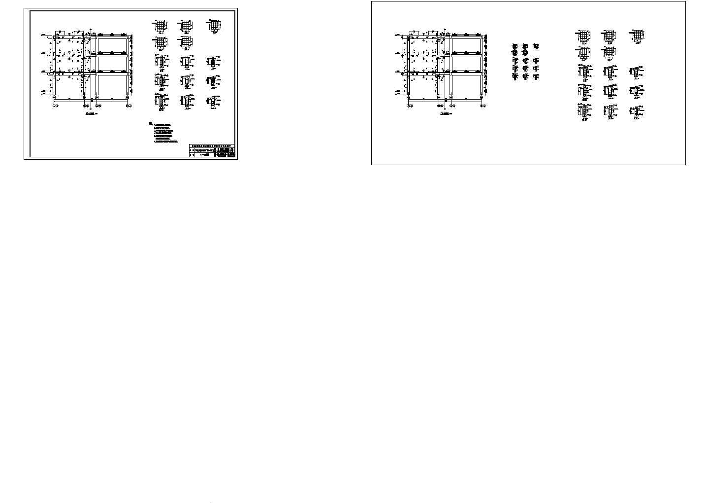 1550.7平米三层机械厂办公楼结构平面施工cad图纸图片3