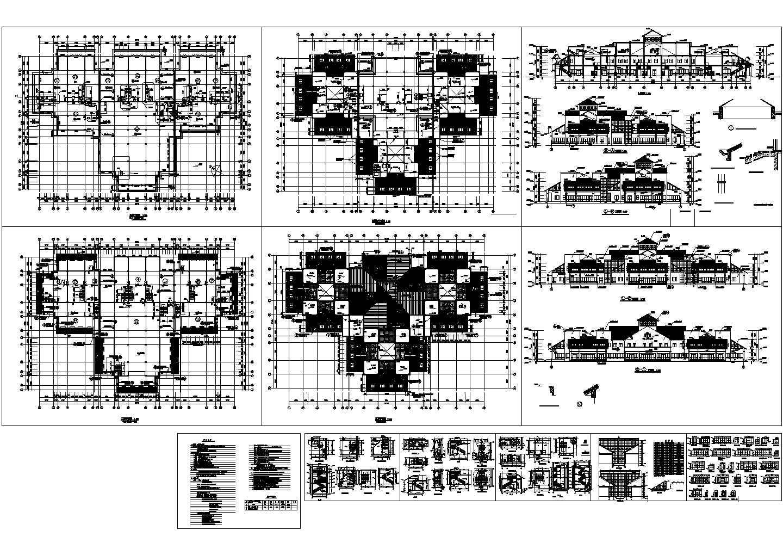 北美风情二层别墅全套建筑设计cad图纸,共12张图片1