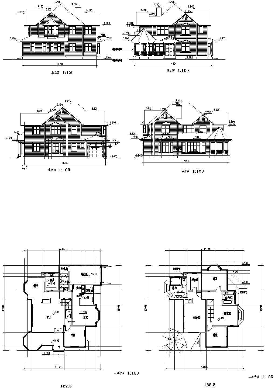 常熟某二层住宅别墅建筑设计cad图纸,共6张图片1