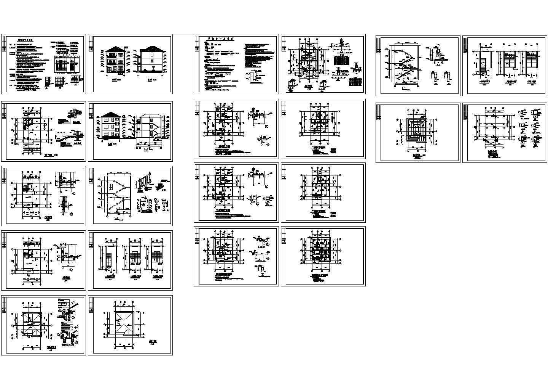 宿豫某3层别墅全套建筑结构设计cad图纸,共22张图片1