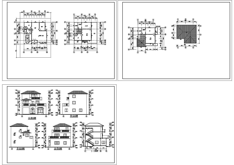河南明州佳苑别墅建筑设计方案cad图纸,共3张图片1