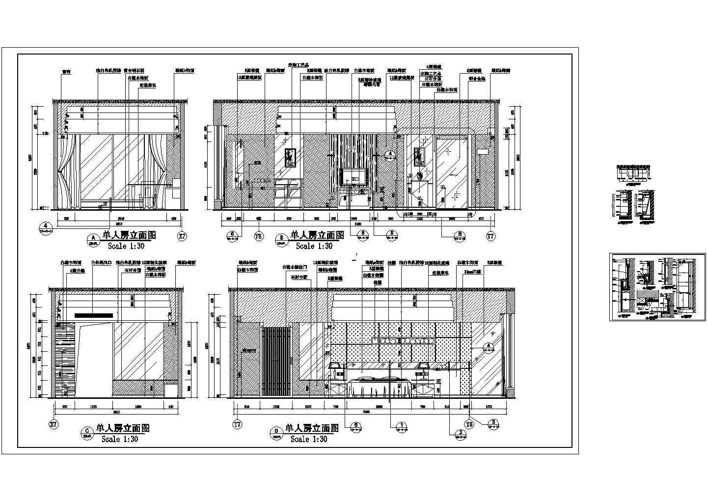 某地酒店标准单人房立面设计施工详图图片1