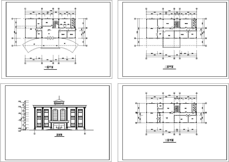 3层小型行政办公楼建施cad图,共四张图片1
