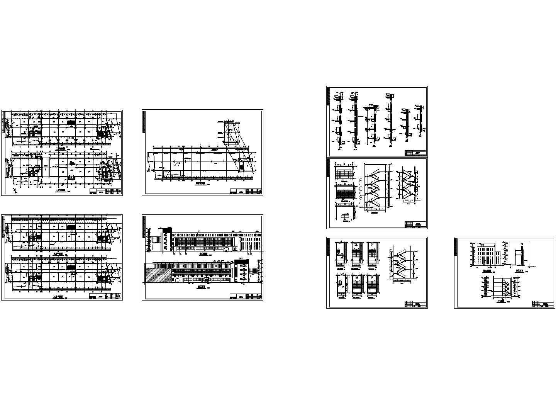 5047.749平方米四层框架办公楼结构施工cad图,共十四张图片2