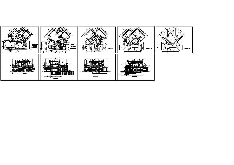 北京某经典三层住宅别墅全套施工建筑设计cad图纸,共9张图片1