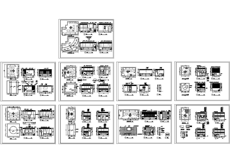 某地区主题KTV包房装修设计CAD立面图,共7张图片1