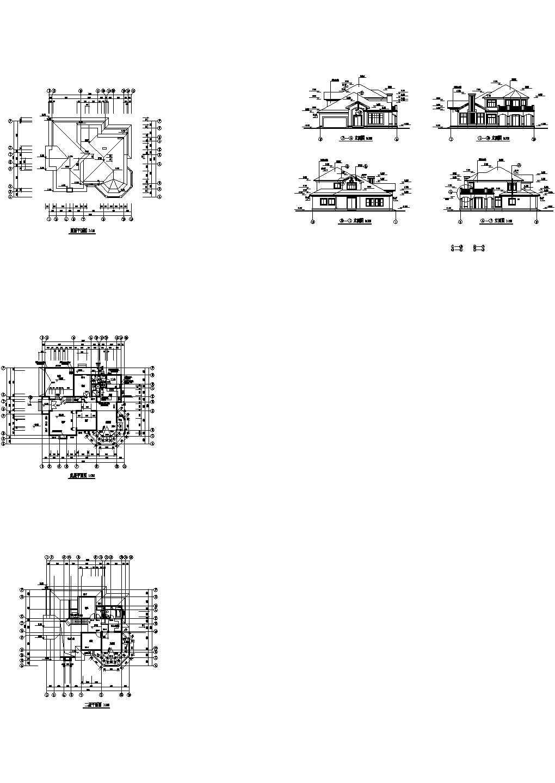 合肥某二层度假村别墅建筑设计cad图纸,共7张图片1