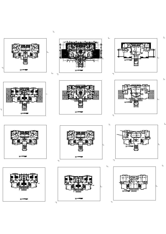 泰州某四层别墅建筑设计cad图纸,共12张图片1