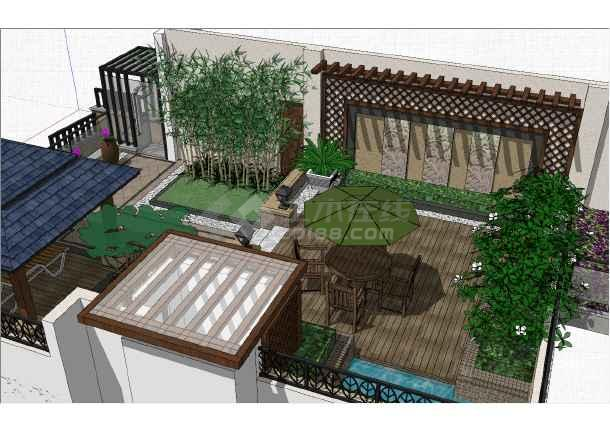 现代独栋别墅顶层庭院注册送3元捕鱼游戏参考模型-图一