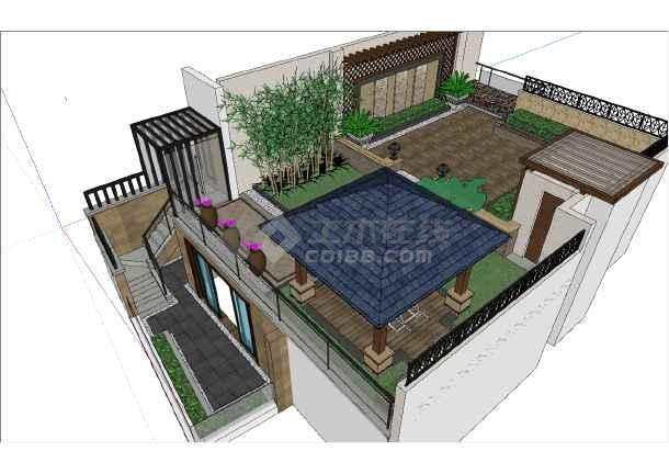 现代独栋别墅顶层庭院注册送3元捕鱼游戏参考模型-图二