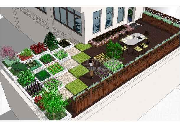 简约别墅独特庭院设计参考模型-图二