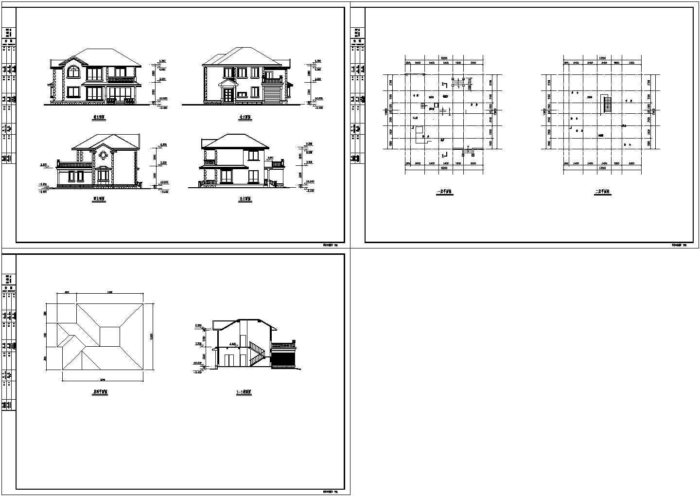 某两层别墅平立剖面(含屋顶平面图)方案设计图图片1