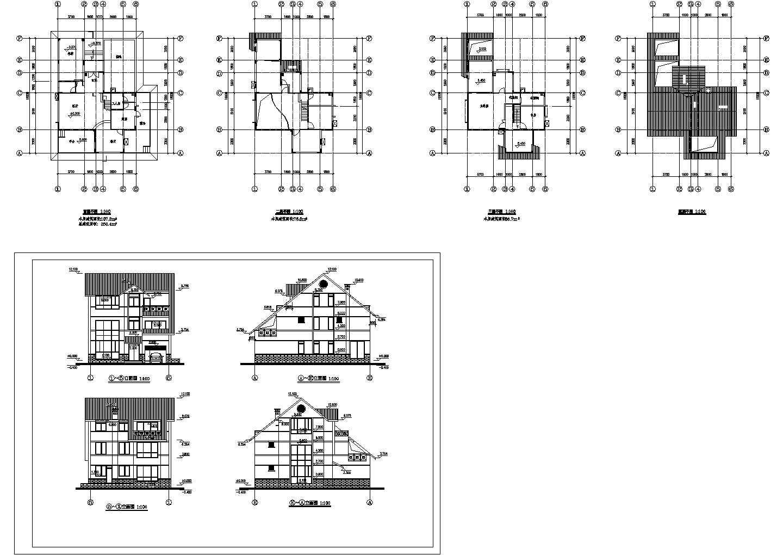 某三层别墅平立面(含屋顶平面图)建筑施工图图片1