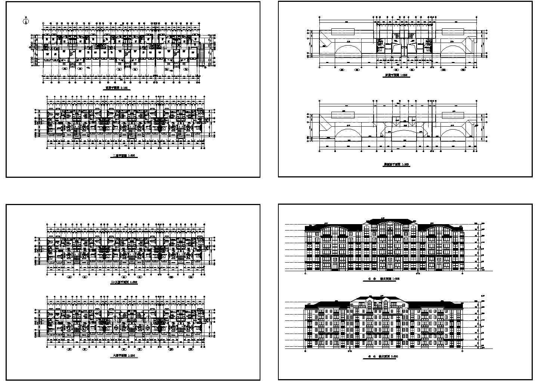 某六层豪华别墅平立面图(含屋顶平面图)图片1