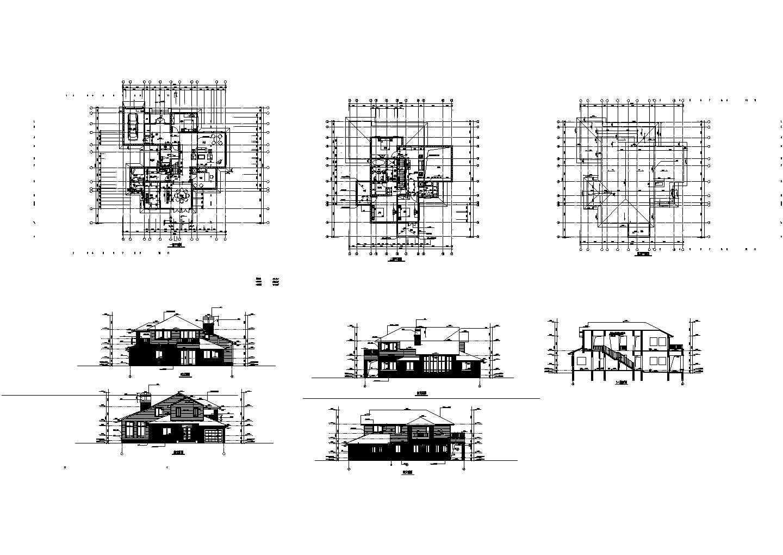 某二层经典别墅平立剖面(含屋顶平面图)图片1