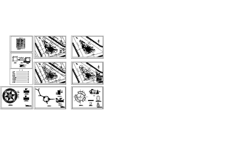 江苏某道路交叉口交通岛绿化设计图含说明图片1