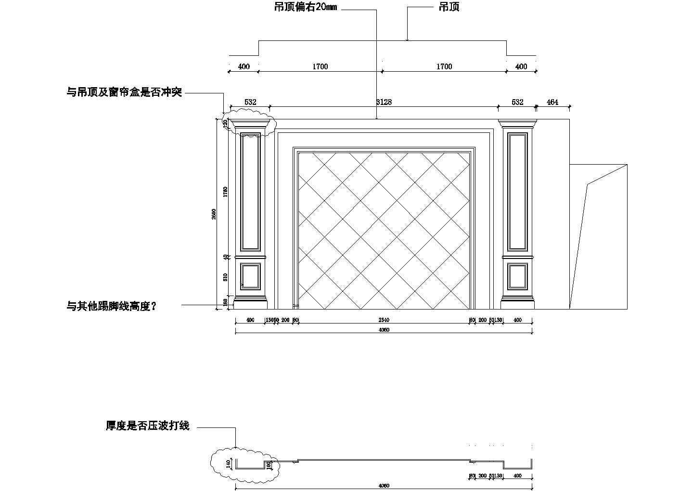 石材电视背景墙CAD图纸图片1