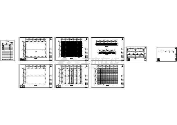 某纸业公司厂房钢结构设计CAD图纸(90米X70米)-图一