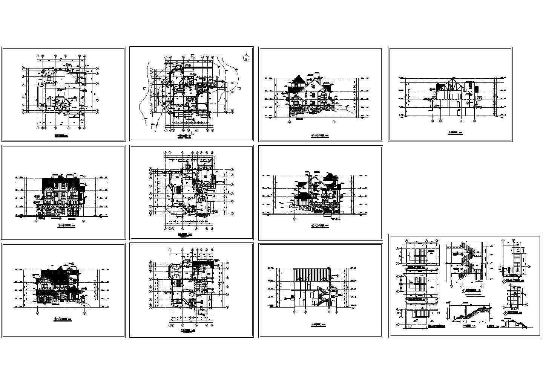 别墅建筑施工楼梯剖面cad图,共十一张图片1