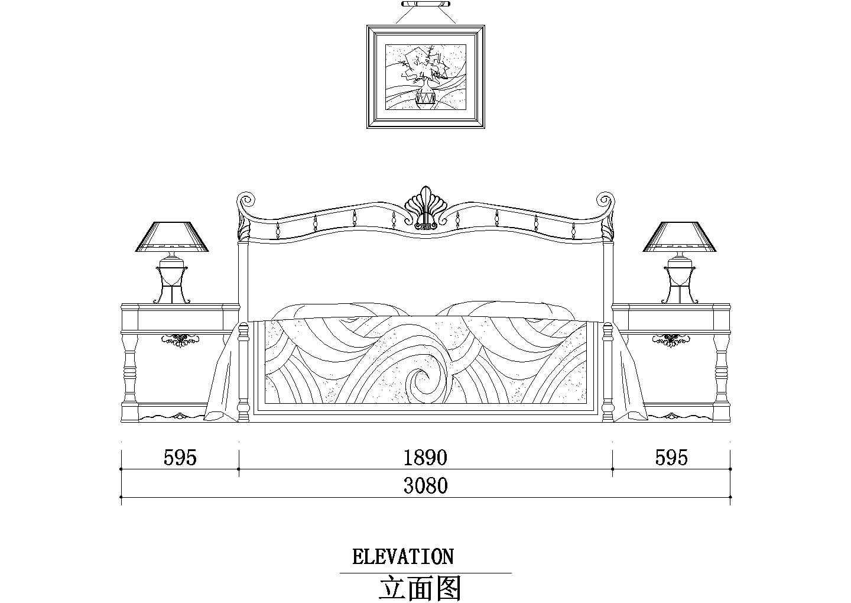 家装卧室床背景墙装修CAD素材图块图片1