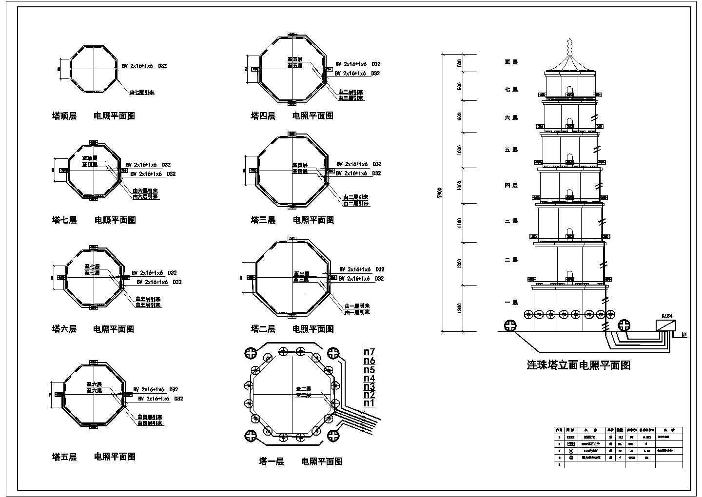 某塔立面电气照明平面图图片1
