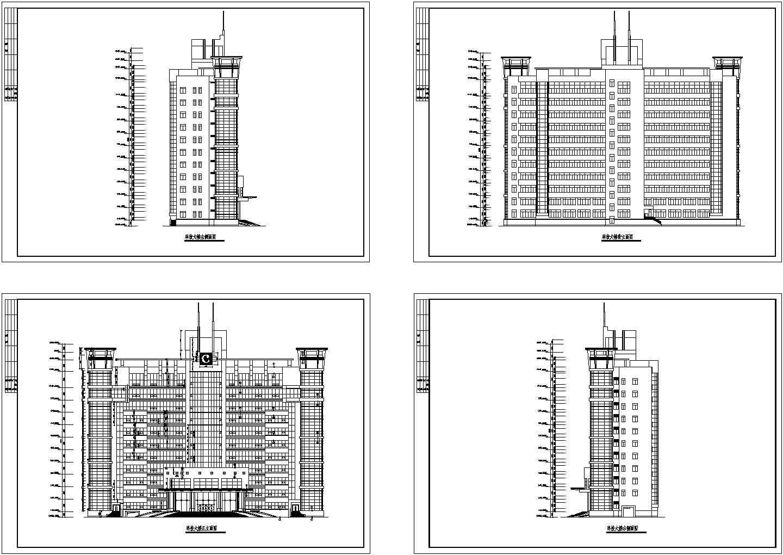 某科技大楼设计cad建筑立面图图片1