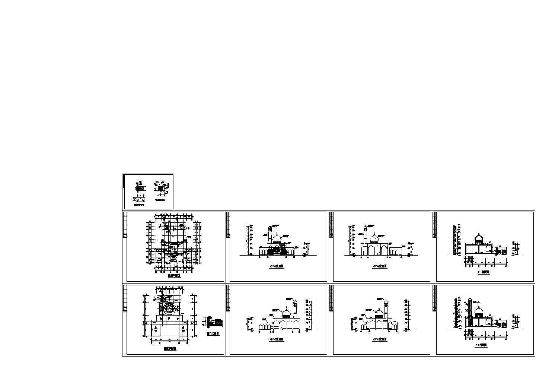 伊斯兰教清真寺建筑设计CAD施工图图片1