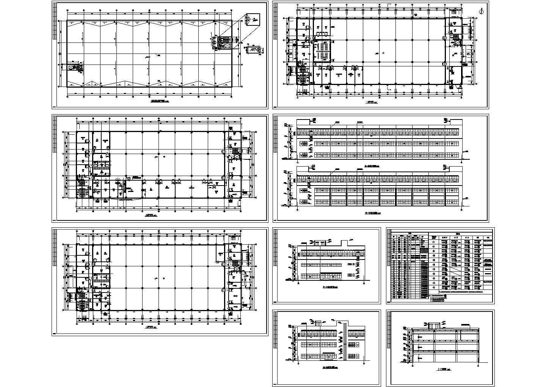 装配车间建筑扩初cad图,共9张图片1